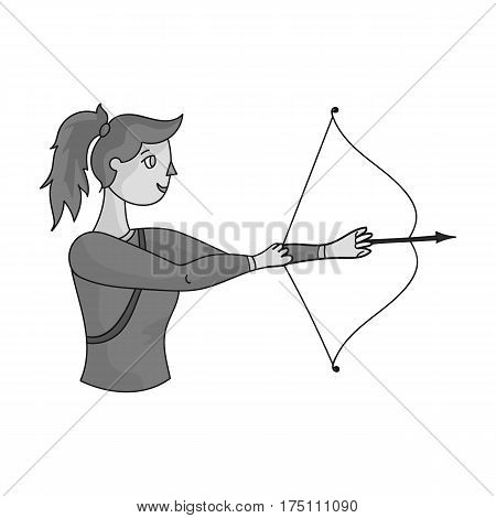 A girl stands in profile and holds the bow.Shooting a bow at a target.Olympic sports single icon in monochrome style vector symbol stock web illustration.