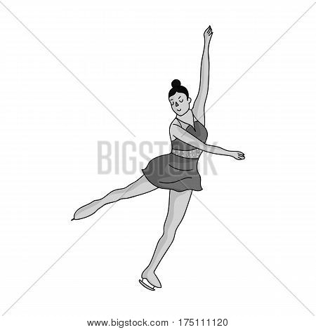 Girl in purple dress dancing on skates on ice.Athlete figure skaters.Olympic sports single icon in monochrome style vector symbol stock web illustration.