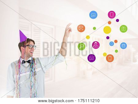 Digital composite image of nerd man with party hat and application icons