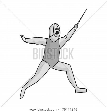 The athlete outfit with a sword.Fencing competitions .Olympic sports single icon in monochrome style vector symbol stock web illustration.