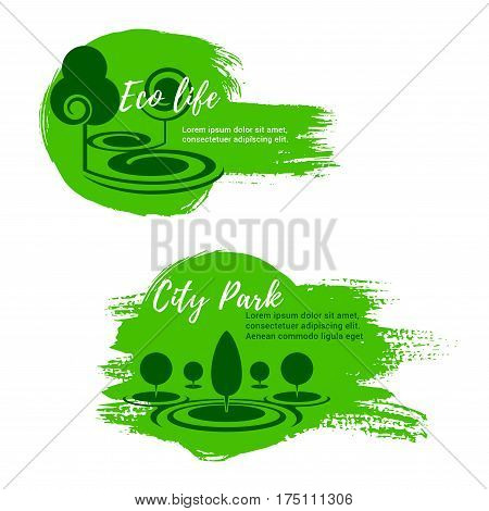 Eco park and green city life vector icons of urban outdoor or eco village with forest trees and plants for horticulture landscape design, ecology environment or urban planting and gardening service