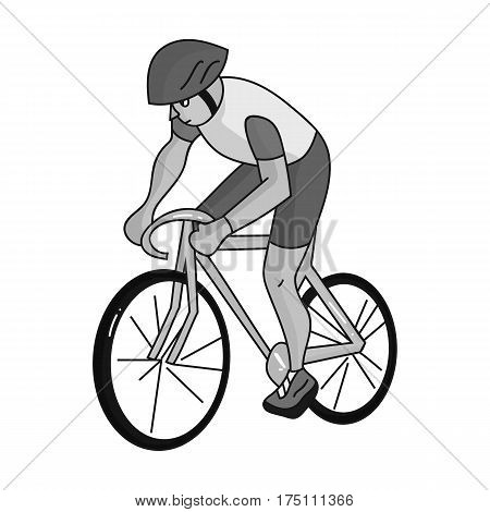 An athlete with a helmet riding his bike on the field.Cycling.Olympic sports single icon in monochrome style vector symbol stock web illustration.