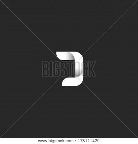 J Letter Gradient Logo Monogram, Black And White Smooth Linear Geometric Shape, Ribbon Form Initial