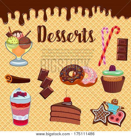 Pastry desserts vector waffle or wafer poster of cupcake, cheesecake, bakery chocolate fondant, brownie pie and biscuit cookie, patisserie cake or pudding, ice cream and donut, torte and candy cane