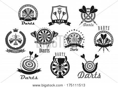 Darts vector icons of dartboard and arrows. Emblems of dart game winner cup awards, trophy heraldic laurel wreath, crown and victory ribbons and stars for sport or club team game championship