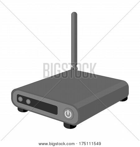 Router icon in monochrome design isolated on white background. Personal computer accessories symbol stock vector illustration.