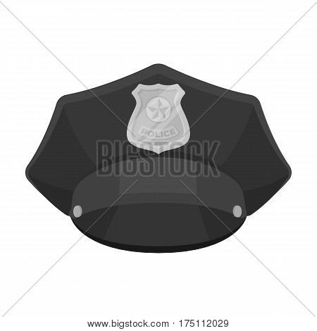 Police cap icon in monochrome design isolated on white background. Police symbol stock vector illustration.