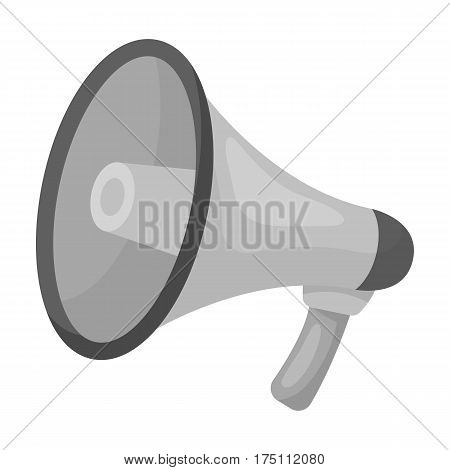 Megaphone icon in monochrome design isolated on white background. Police symbol stock vector illustration.