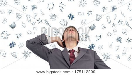 Digital composite image of businessman thinking over graphic signs above her head
