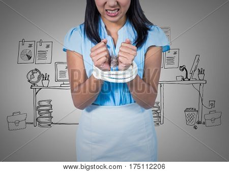 Digital composite image of businesswoman hands tied up with rope