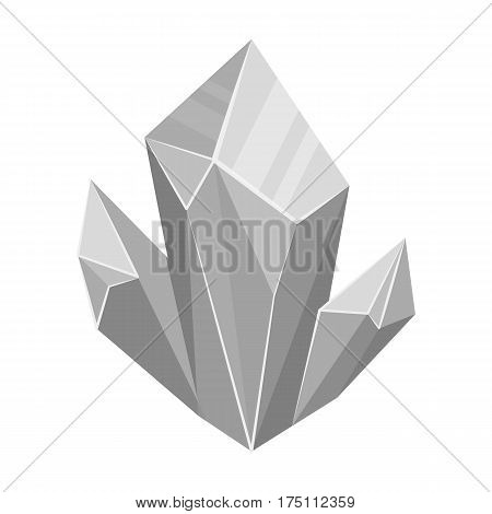 Blue natural mineral icon in monochrome design isolated on white background. Precious minerals and jeweler symbol stock vector illustration.