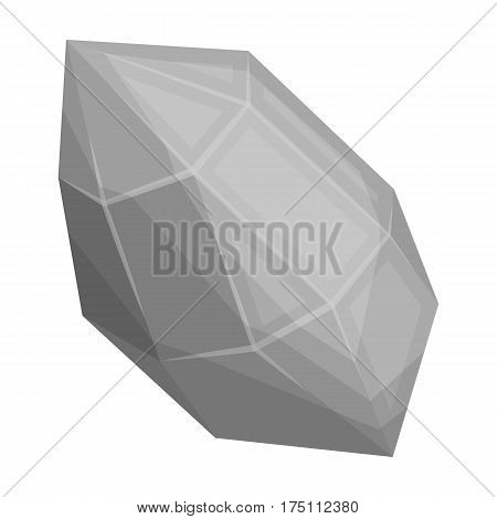 Rough gemstone icon in monochrome design isolated on white background. Precious minerals and jeweler symbol stock vector illustration.