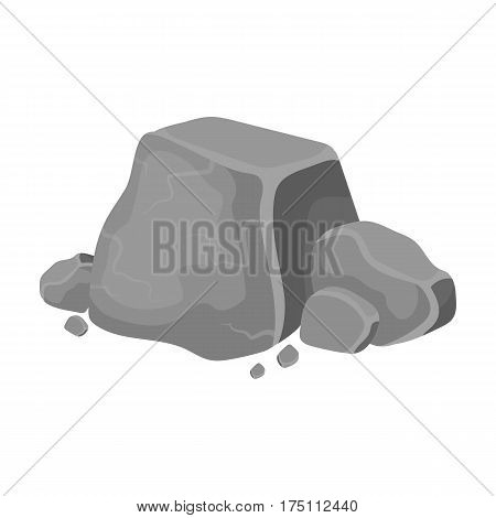 Metal ore icon in monochrome design isolated on white background. Precious minerals and jeweler symbol stock vector illustration.