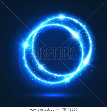 Abstract light flashes of rings or sparkling and shining blue neon circles with luminous glitter sparks. Shiny shimmering particles of star rays and beams sparkles with glare or flare blur effect