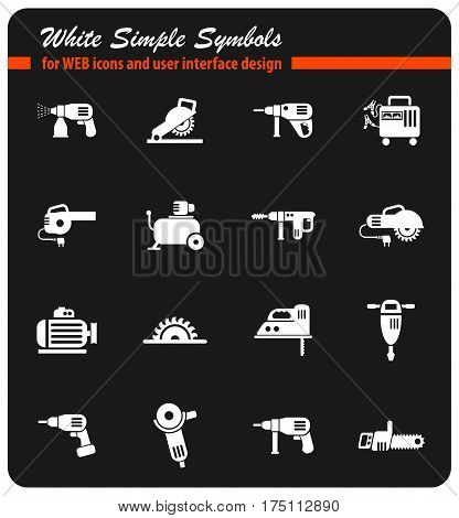machine tools white simple symbols for web icons and user interface design