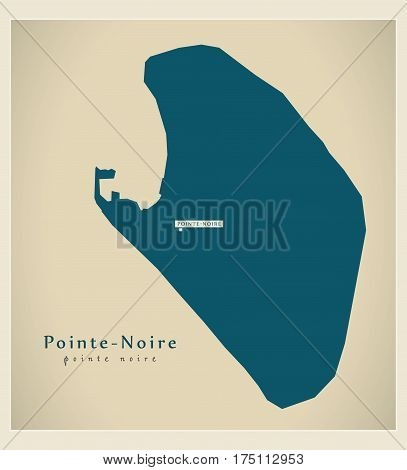 Modern Map - Pointe-noire Cg Illustration Silhouette