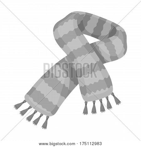 Yellow striped wool scarf.Scarves and shawls single icon in monochrome style vector symbol stock web illustration.