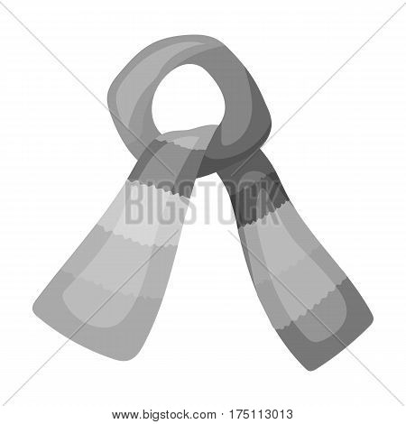 Scarf for boy and girl in cold weather. Coton green scarf.Scarf tied in a knot.Scarves and shawls single icon in monochrome style vector symbol stock web illustration.