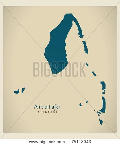 Modern Map - Aitutaki Ck Illustration Silhouette