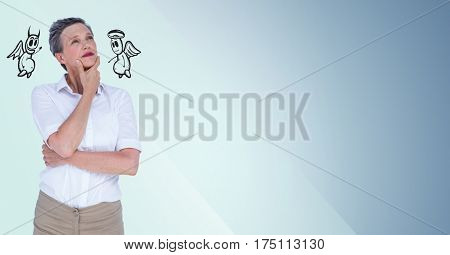 Conceptual image of thoughtful businesswoman between good and bad conscience against blue background