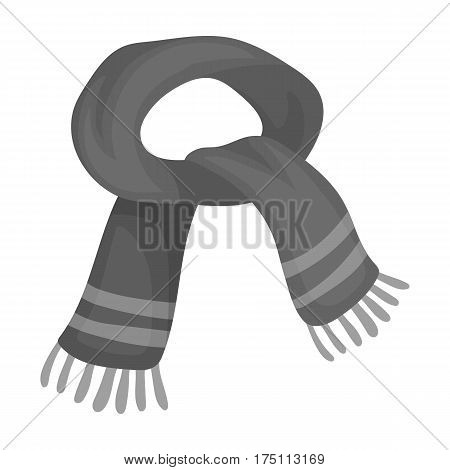 The blue scarf.Winter warm wool scarf for the neck.Scarves and shawls single icon in monochrome style vector symbol stock web illustration.