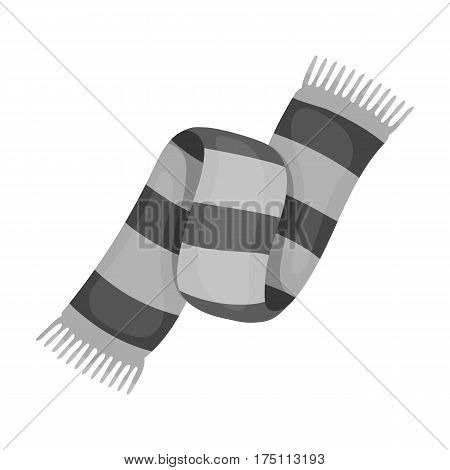 Beautiful two-tone scarf.Scarf with her ropes on the ends.Scarves and shawls single icon in monochrome style vector symbol stock web illustration.