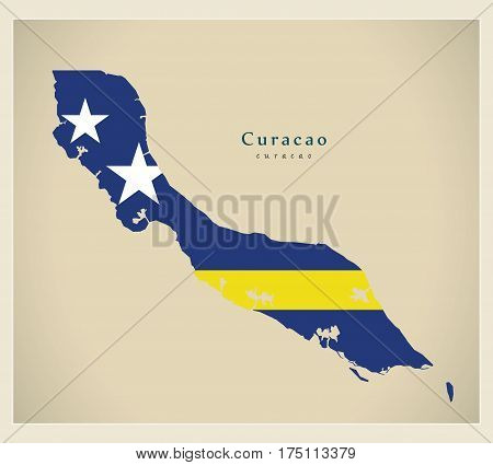 Modern Map - Curacao Flag Colored Cw Illustration