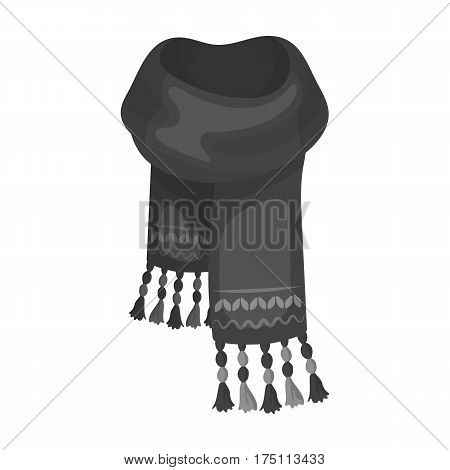 Blue felt scarf with beautiful patterns.Scarves and shawls single icon in monochrome style vector symbol stock web illustration.