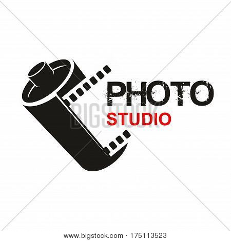 Camera photographic film vector icon of photo studio or photography school. Symbol or emblem of retro photograph film cartridge