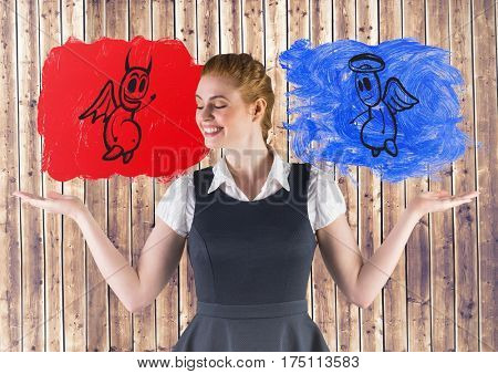 Conceptual image of smiling businesswoman between good and bad conscience against fence background