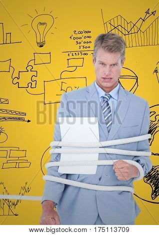 Digitally composite image of businessman tied up with rope and paper against business graphic icon