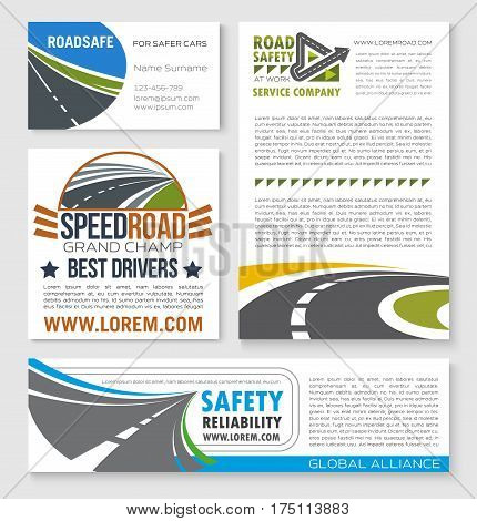 Road construction and service company vector banners. Speed rally or racing highways building and driver safety motorways industry set for expressway drive routes and transport traffic technology