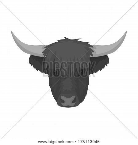 Highland cattle head icon in monochrome design isolated on white background. Scotland country symbol stock vector illustration.