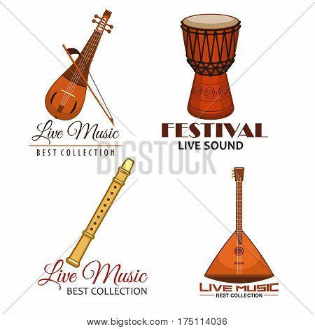 Music festival icons or vector emblems of live concert. Musical instruments balalaika, flute or reed pipe, djembe or jembe goblet drum, lute and biwa or gadulka fiddle for ethnic or folk music fest