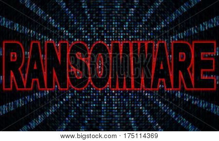 Ransomware text on hex code 3d illustration
