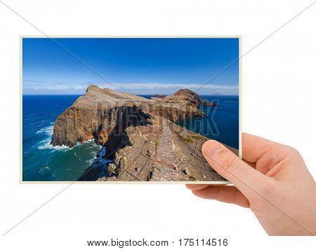 Hand and Cape Ponta de Sao Lourenco - Madeira Portugal (my photo) isolated on white background