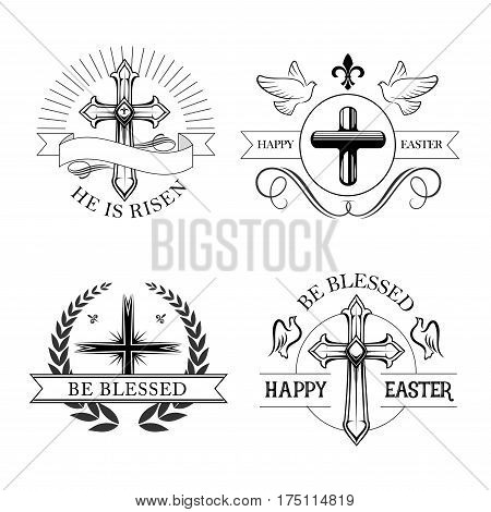 Easter holiday religious cross isolated emblem set. Christian and catholic crucifix with dove birds, heraldic laurel wreath and ribbon banner with text He Is Risen, Happy Easter and Be Blessed