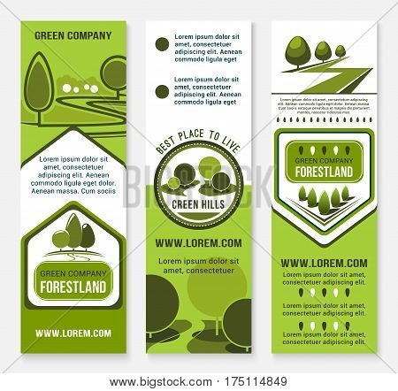 Green landscape design or urban eco building company vector banners. Park trees or forestland village and woodland alleys for city horticulture planting and gardening service