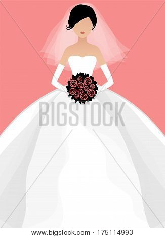 Bride's silhouette. Full face. Vector illustration of young beautiful bride