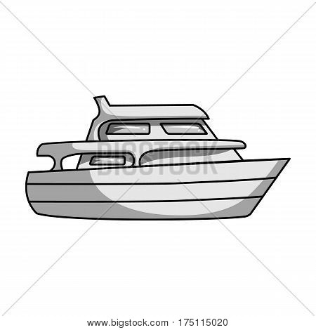 Recreational marine boat.Boat for a family holiday.Ship and water transport single icon in monochrome style vector symbol stock web illustration.
