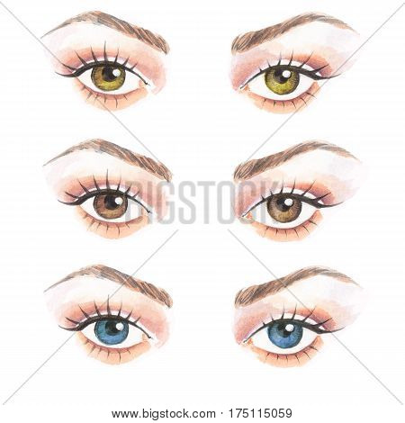 Hand drawn watercolor eyes. Colorful illustration, contact lenses