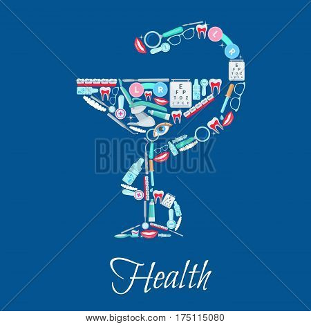 Health poster of Hygieia Bowl and snake of vector dentistry and ophthalmology medical items dentist mirror and chair, braces, eye drops, scalpel and syringe, glasses lens, tooth paste and toothbrush