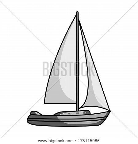 Sailboat for sailing.Boat to compete in sailing.Ship and water transport single icon in monochrome style vector symbol stock web illustration.