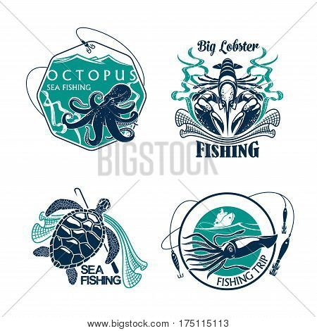 Fishing trip vector icons of catch and fisher tackle. Emblems of octopus and squid, turtle and lobster. Badges and ribbons, fisherman rods and fish net, baits or lures and hooks for fishery club