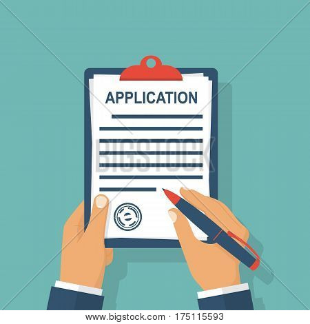 Application form. Man with clipboard in his hand fills in the form of employment. Write documents. Vector illustration in flat design style. Isolated on background.