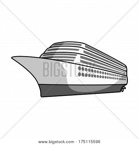 A huge cruise liner.Vehicle for travelling over long distances to a huge number of people.Ship and water transport single icon in monochrome style vector symbol stock web illustration.