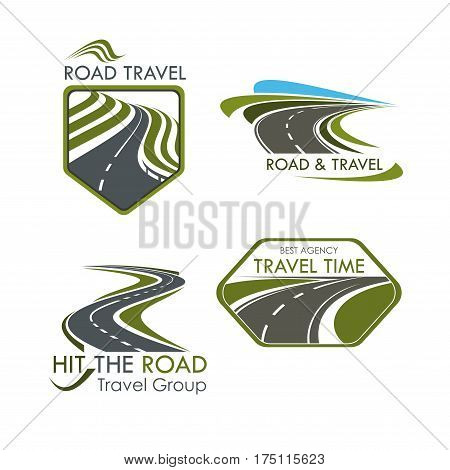 Travel agency and road tourism vector icons. Emblems set of highway, motorway lane or expressway drives and directions for car trip journey or bus travel adventure tour company