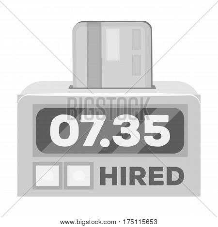 Yellow taxi counter with bank card.A device for measuring and calculating the cost of travel in a taxi. Taxi station single icon in monochrome style vector symbol stock web illustration.