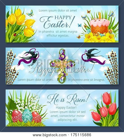 Happy Easter greetings banner template set. Easter egg and cake, cross with flowers and flying swallow bird cartoon poster, adorned by tulip and narcissus flowers, willow tree twig and butterfly