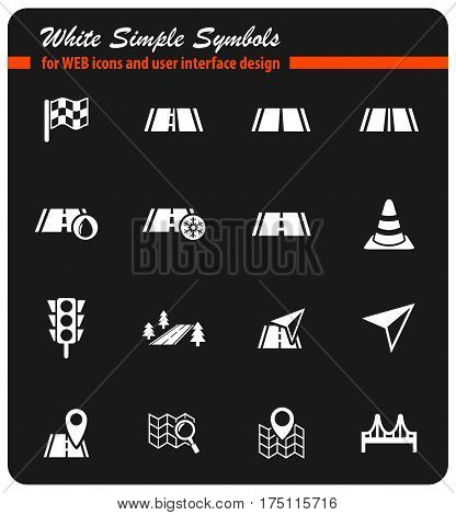 road white simple symbols for web icons and user interface design